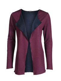Mocca by J.L. Wendecardigan mit offener Front, weinrot-marine